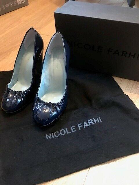 NICOLE FAHRI cuir verni Cour Chaussures-Bleu Marine-Taille 6 (39)
