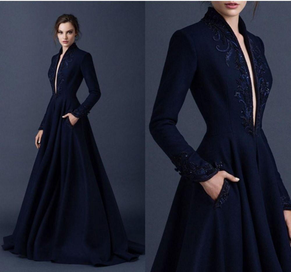 Elegant Navy bluee Satin Party Evening Dress Embroidery Wedding Wedding Wedding Prom Formal Gown 213603
