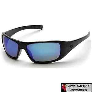 PYRAMEX GOLIATH SAFETY GLASSES BLACK W/ ICE BLUE MIRROR LENS SUNGLASSES SB5665D