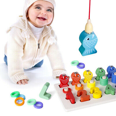 Fishing Toy & Number Puzzle Board Set 1-10 Wood Blocks Count ...