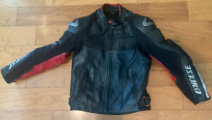 DAINESE-Leather-Motorcycle-Jacket-Cafe-Racer-size-46-Red-amp-black