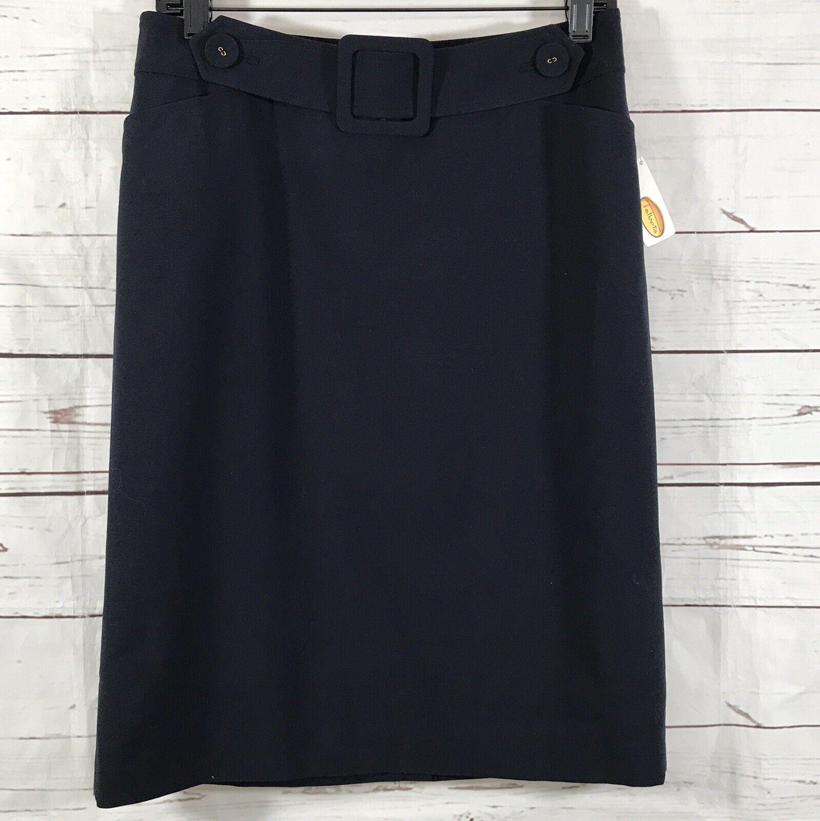 Talbots Pencil Straight Skirt Size 4 Navy bluee Lined Slit Career NWT