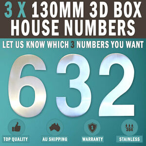 Details about NEW 3 X 130 MM 3D House Number Letter Box Numbers 304 Stainless Steel