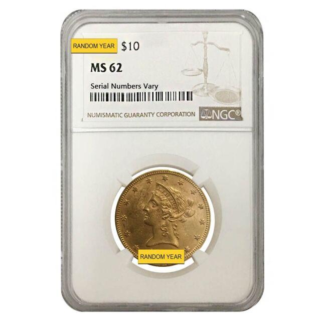 US Gold $10 Liberty Head Eagle NGC MS62 Random Date