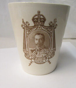 Antique 1911 Coronation Cup Featuring King George V & Queen Mary - Royal Doulton