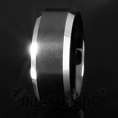 Tungsten Carbide Black Brushed Stripe Comfort Fit Band Ring 8-13 Mens & Womens