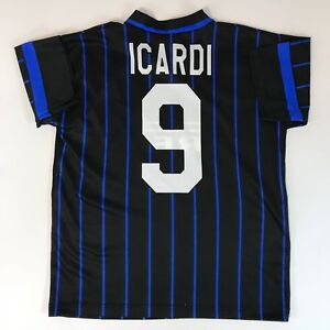 promo code 2ec95 394a8 Details about Mens Mauro Icardi Inter Milan Home Soccer Jersey Size Small  Blue/Black