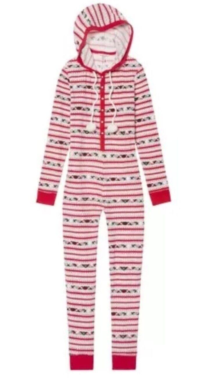Victoria Secret Pom Pom Thermal Long Jane One Piece Pajama Red LARGE New