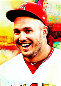 2020 Mike Trout Angels Baseball 7/25 Art ACEO Orange  Print Card By:Q