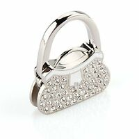 Wannabi Metal Rhinestone Designer Decor Handbag Table Hook Desk Purse Hanger Sil