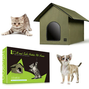 Mindkoo Cat Heated House Outdoor Kitty Water Resistant