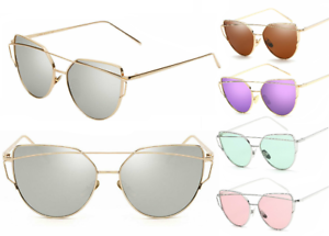 Ladies-Mirrored-amp-Tinted-Lens-Metal-Frame-Glasses-Oversized-Cat-Eye-Sunglasses