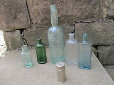 "Old Glass Bottle Antique - Vintage Raised Writing x5 Metal Pot ""Boots"" Chemist"