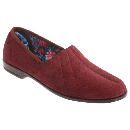 Sleepers Womens//Ladies Audrey Roll Top Velour Slippers//Indoor Shoes DF501