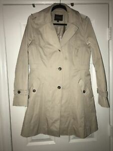 Cole Hann Woman Light Weight Button  Khaki Trench Lined Coat Size Large