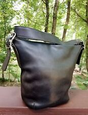 Vintage COACH Large Black Quality Leather Bucket Feed Purse Bag - Signature