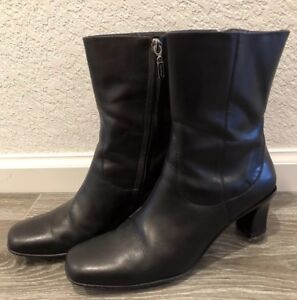 3bef7418dd680 Details about Cole Haan Ankle Calf Boots Womens Sz 8B Classic Black Leather  Heels D10811 Shoes