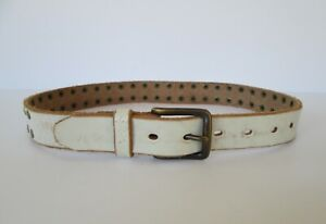 Details About J Crew Womens Off White Wash Studded Leather Antique Br Buckle Belt Xs