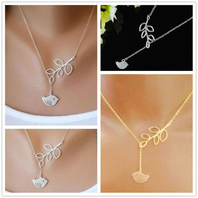 Fashion Lady Girl's Cute Bird Branch Leaves Pendant Charm Plated Chain Necklace