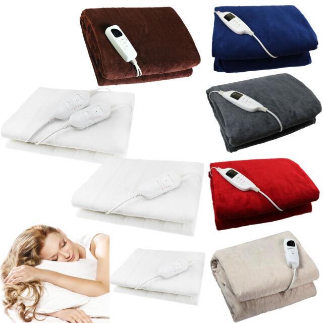 All Size Wärmer Electric Heated Blanket Underblanket 3 Heat Control /& Washable