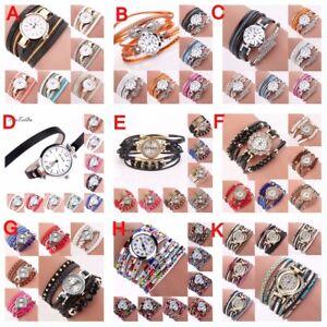 Fashion-Women-Bracelet-Crystal-Glass-Watch-PU-Leather-Quartz-Bangle-Wrist-XMAS