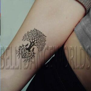 Details About 1 Set Of 4 Circle Tree Of Life Trees Temporary Tattoo Wrist Sticker Tatouage New