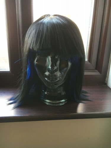 MEDIUM LENGTH STRAIGHT FASHION WIG BLACK WITH BLUE STREAKS COSPLAY PARTY
