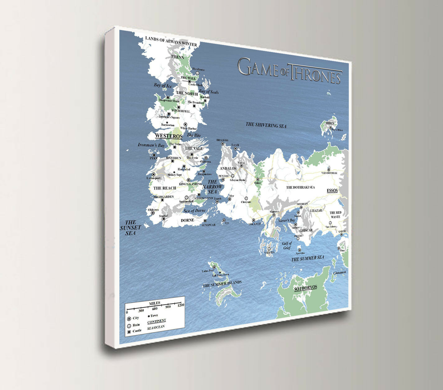 Game of Thrones WESTEROS & ESSOS scale map, print on  30cm 12