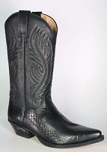 b6559b8491b67 Sendra 2605 Men Cowboy Boots Black Leather Python Skin Western Biker ...