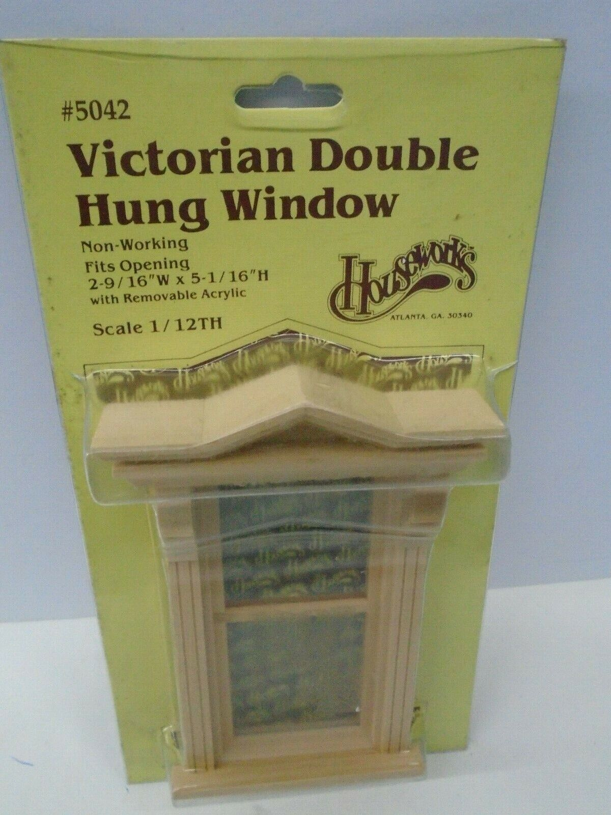 Wooden Dollhouse Non Working Double Hung Window 1:12 Scale Removable Acrylic 2