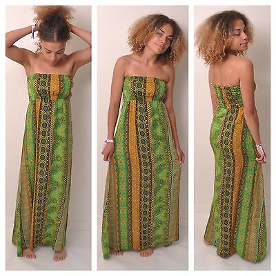 LONG MAXI DRESS SIZE 6 8 10 12 14 16 BOHO LADIES SUMMER BEACH PARTY CELEB SEXY