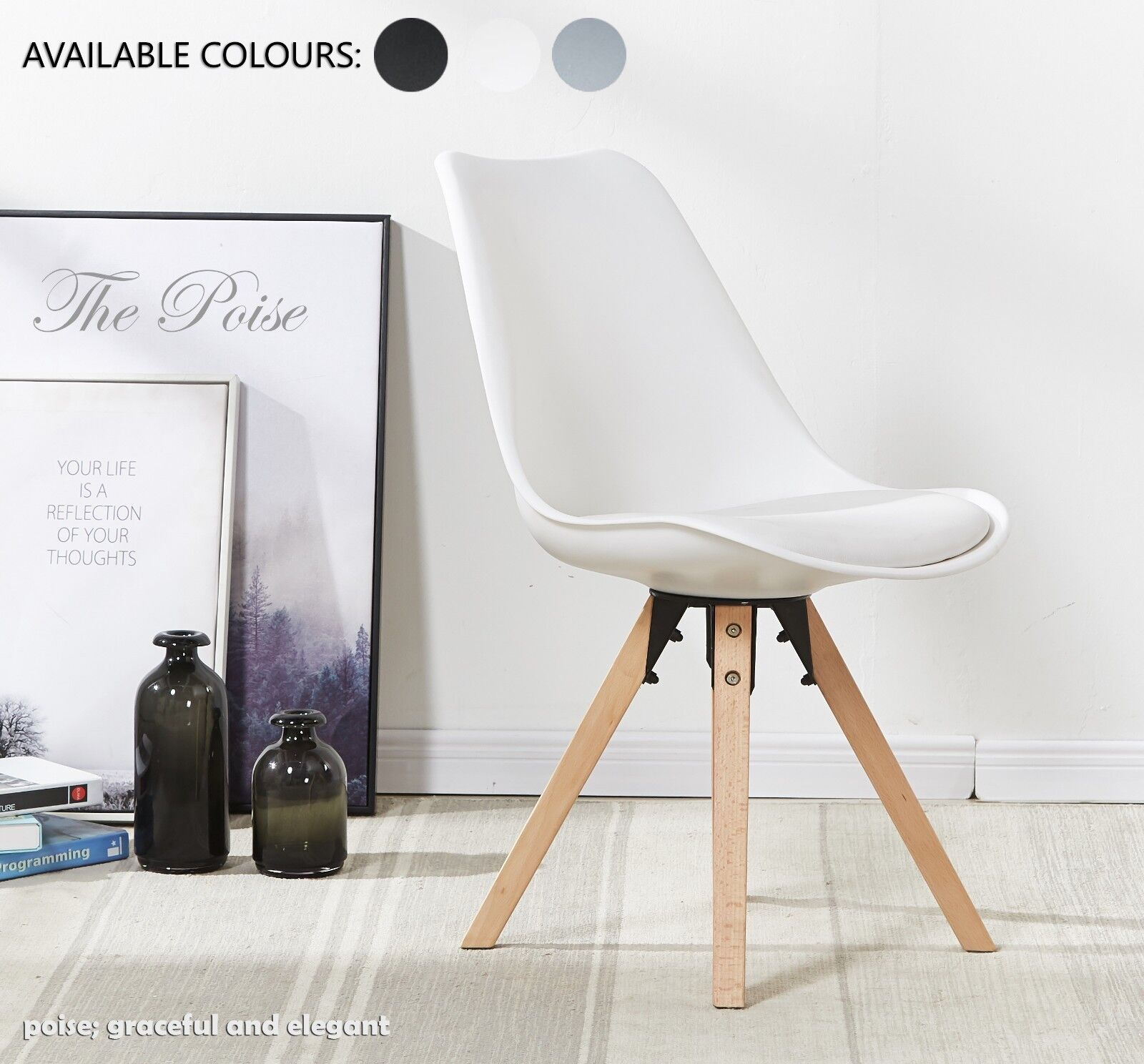 Details About Poise Dining Chair Scandinavian Eiffel Inspired Wood Padded  Seat Modern Designer