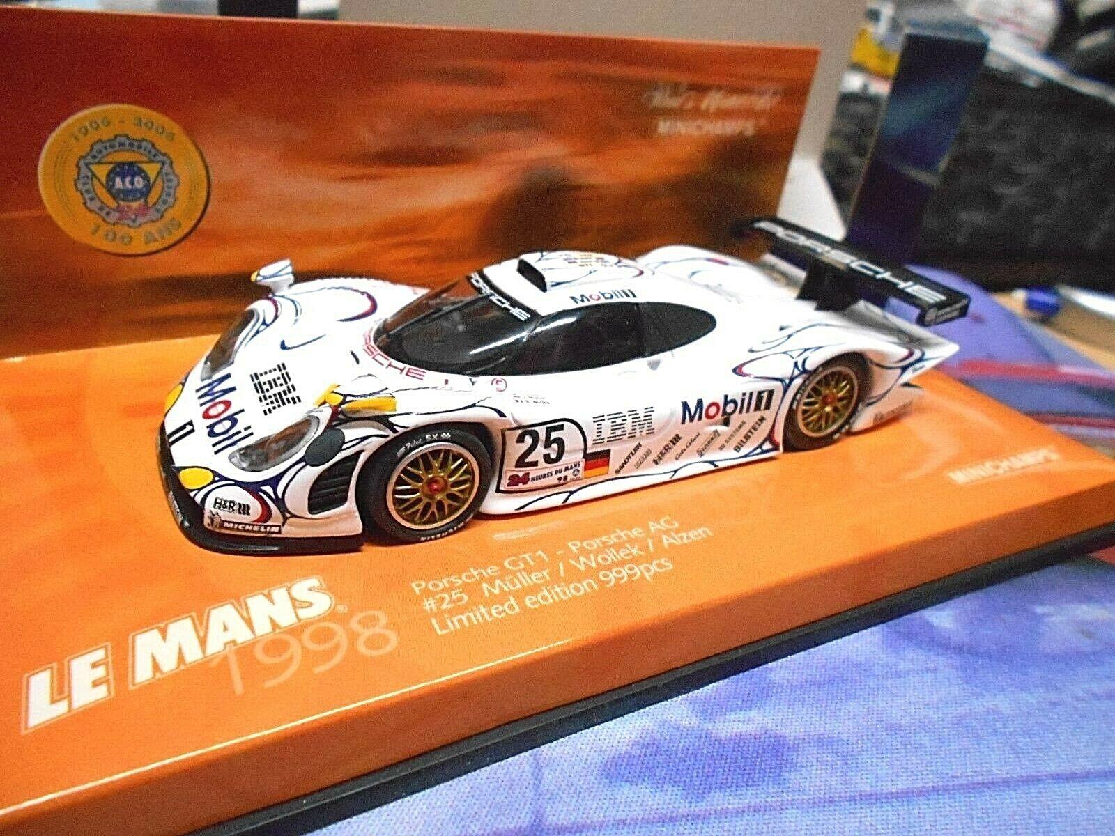 Porsche 911 gt1 evo le mans  25 Wollek Alzen Müller 1998 mobile MINICHAMPS 1 43