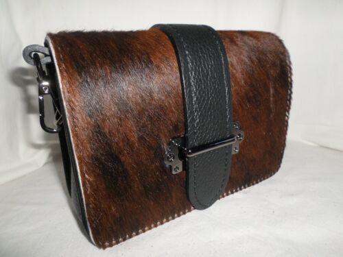 Genuine Italian Leather Belt loop Bag Cross Body Clutch Animal Faux Fur