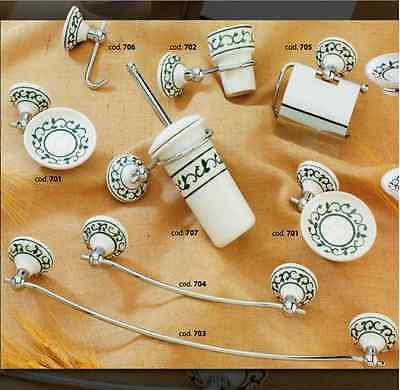 Accessori Bagno In Ceramica Decorata.Serie Set Accessori Bagno Ceramica Decorata Ottone Cromato Vietri Made In Italy Ebay