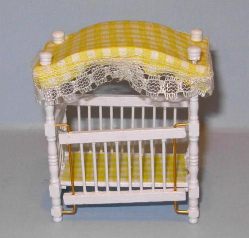 CANOPY CRIB 1//2 SCALE  DOLLHOUSE FURNITURE MINIATURES