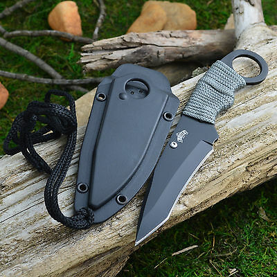 Master Cord Wrapped Handle Tactical Combat Neck Knife + Sheath And Lanyard New!