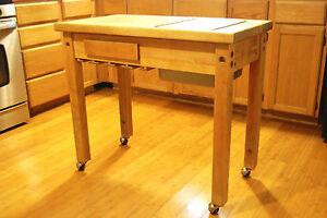le gourmand maple butcher block kitchen cart ebay