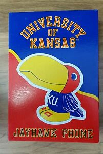 University-of-Kansas-Jayhawk-Push-Button-Phone-Desk-Top-Vintage-KU-In-Box