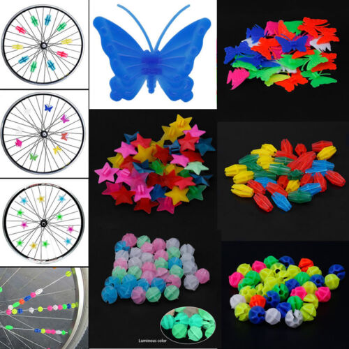 36pc Bike Bicycle Wheel Plastic Spoke Bead Children Kids Clip Colored Decoration