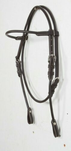 Light Western Leather Headstall Bridle Horse Tack Plain Brown 125