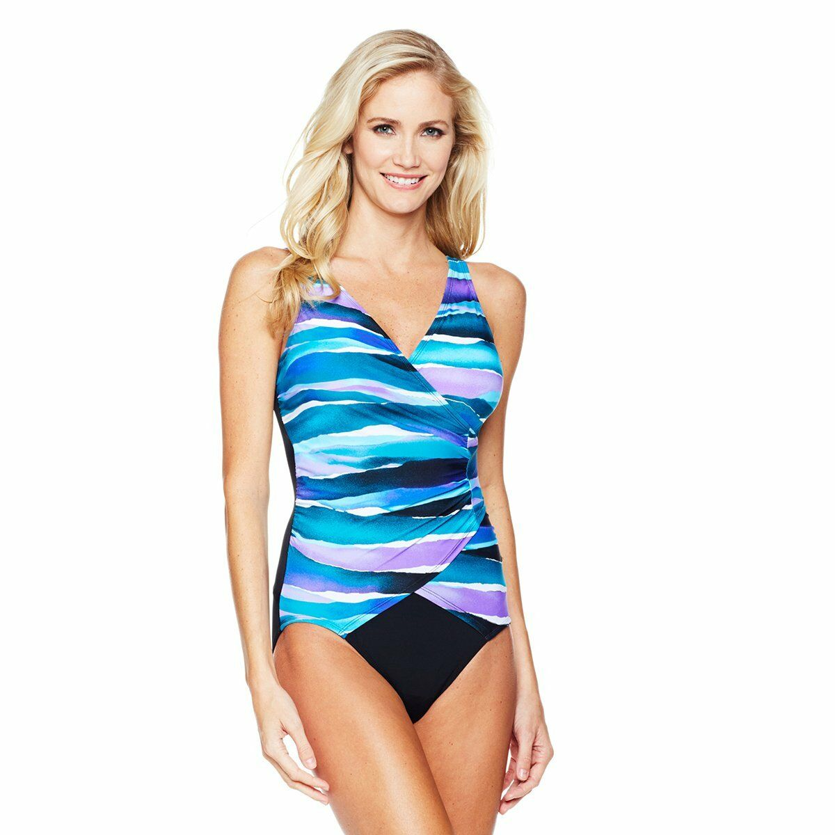 94.00 Jantzen® Royal Waves Surplice Swimsuit 356364J NOW ONLY  56