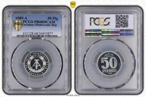 GDR 50 Pfennig 1985 A Superb High Grade Proof Only 2816 Ex. PCGS PR68DCAM