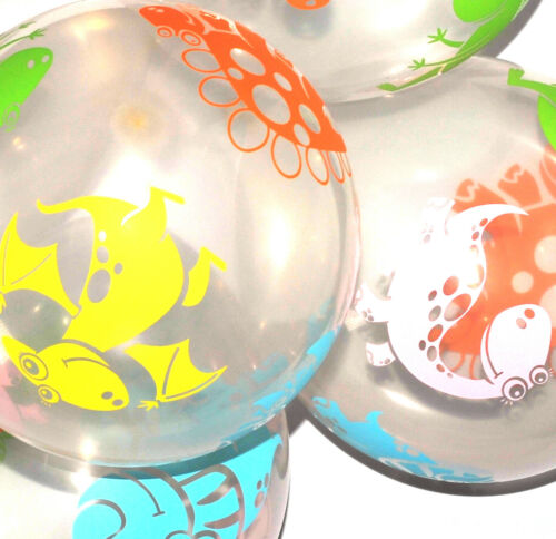 10x 12 Inch Quality Clear Latex Balloons With Multicoloured Dinosaur Pattern