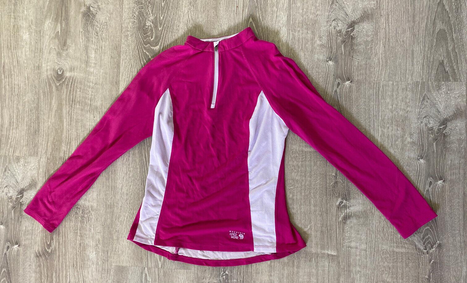 Womens Mountain Hardwear Top Quarter Zip Lightweight Pink Small