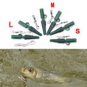 30x-Green-Carp-Fishing-plomb-clips-Snap-Link-Size3-pivotant-pour-les-cheveux-Rig