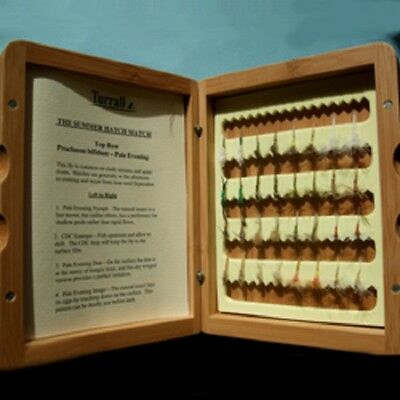 Great Gift Turrall Bamboo Presentation Fly Box 32 Quality Summer Hatch flies