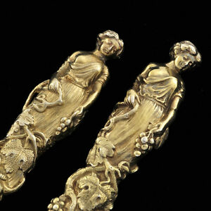 ANTIQUE-ENGLISH-STERLING-PAIR-WOMEN-FIGURAL-3D-REALISTIC-Knife-amp-Fork-ART-SILVER