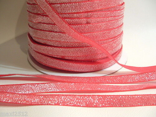 5m X 10 Mm De Terciopelo Lame Brillo Cinta Lgr08 Red//silver