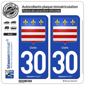 Armoiries 2 Stickers autocollants plaque d/'immatriculation auto30 Uzès